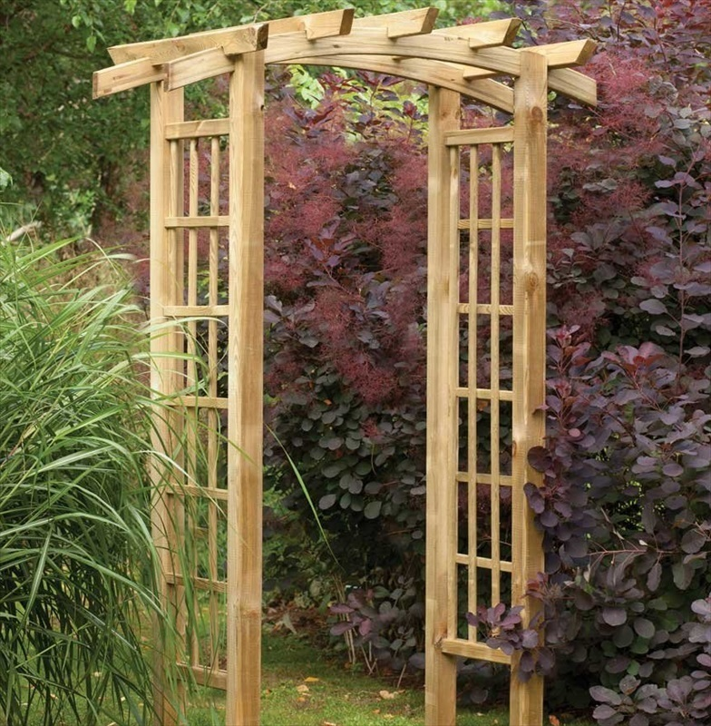 wooden curved top garden arch the garden factory. Black Bedroom Furniture Sets. Home Design Ideas