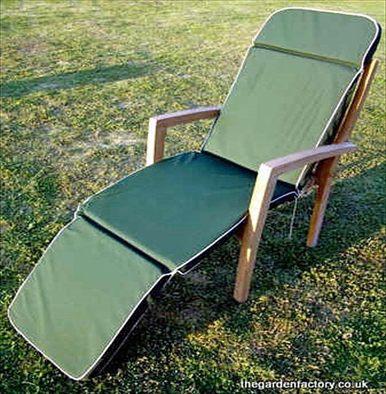 Garden Steamer Chair Or Recliner Chair Cushion   Green