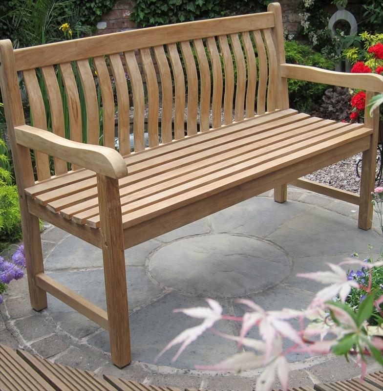 Merveilleux Teak Java Curved Back Garden Bench 150cm