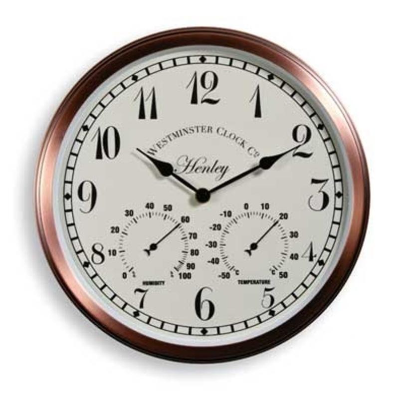 Henley Garden Wall Clock U0026 Thermometer 30.5cm   Copper Effect