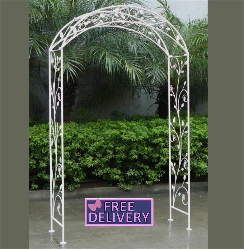 Wrought Iron Arch Shabby Chic White The Garden Factory