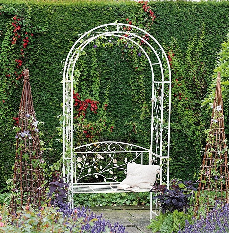 English Metal Garden Rose Arch Arbour Bench By Gardman
