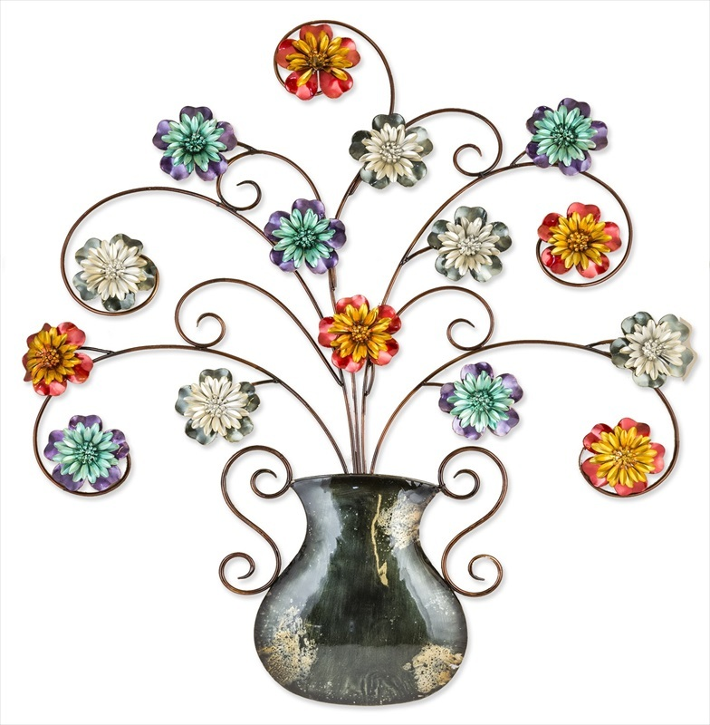 Metal Garden Vase Of Flowers Wall Art Fountasia