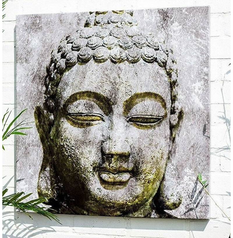 Large Buddha Head Outdoor Wall Art The Garden Factory