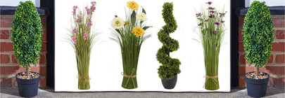 Faux Topiary Trees & Bouquets
