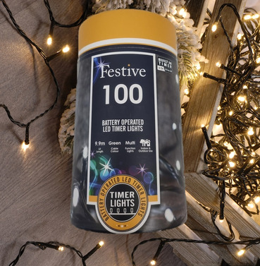 Festive 100 Battery Operated Christmas String Lights - Warm White