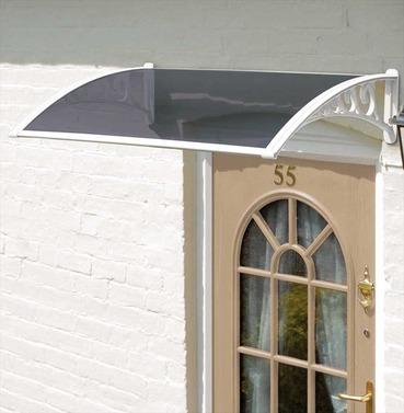 Easy Fit Door Canopy in White - 1m or 1.2m Wide - Grey Cover