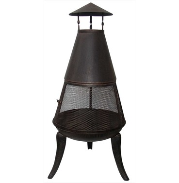 Steel Chiminea with 360 Degree Mesh Surround - D/L