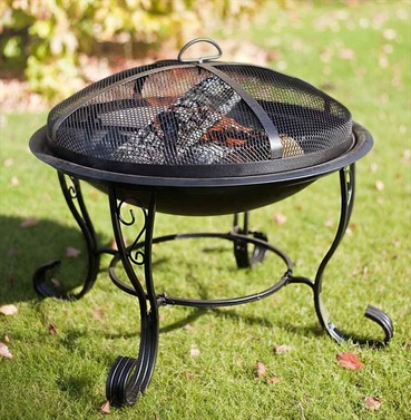 San Diego Black Steel Firebowl With Mesh Safety Cover - La Hacienda