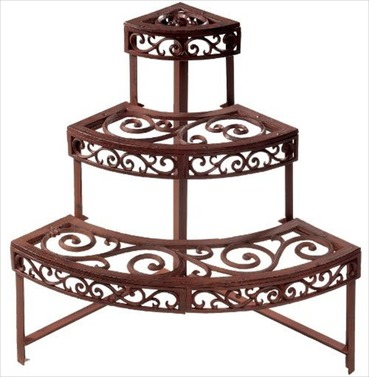 Etagere Garden Plant Stand in Cast Metal - Quarter Round