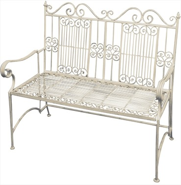 Old Rectory Victorian Metal Garden Bench - Antique Cream