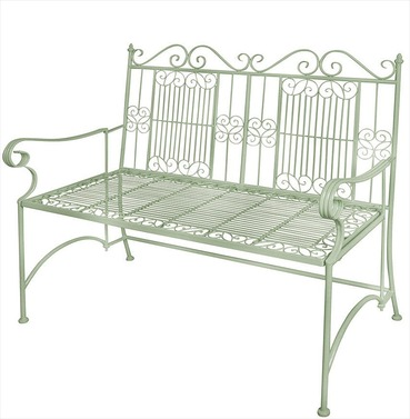 Old Rectory Victorian Metal Garden Bench - Sage Green