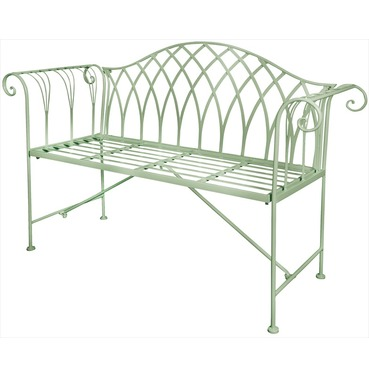 Old Rectory Scrolled Metal Garden Bench - Sage Green