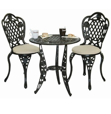 Rose Bronze Garden Bistro Set - With Seat Pads