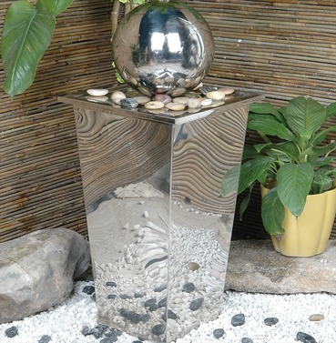 Column Sphere Stainless Steel Water Feature