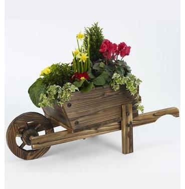 Decorative Wooden Wheelbarrow Planter