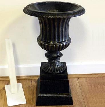 Bronze Cast Iron Garden Urn & Base - 50cm