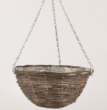 Hanging Basket in Black Rattan in a range of sizes from Gardman