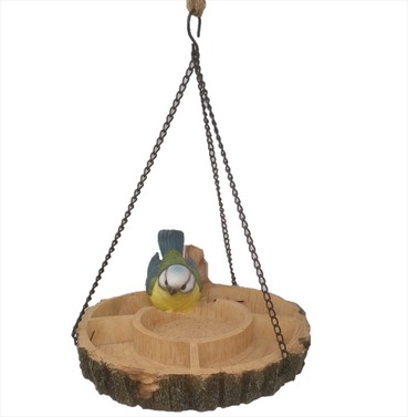 Hanging Multi Bird Feeder Dish Resin Garden Ornament - Blue Tit