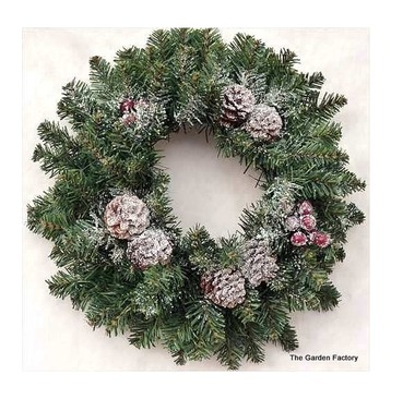Wreath Frosted Sherwood 40cm - Berries, Cones & Frosting