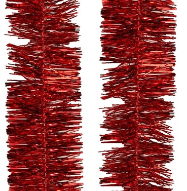 Tinsel Garland Shiny 4Ply Christmas Red