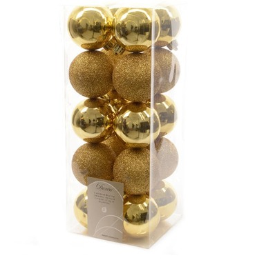 Christmas Bauble Gold Set 60mm x 20 - 10 Shiny & 10 Glittery