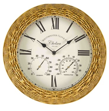 Chelsea Wicker / Rattan Effect Garden Wall Clock and Thermometer 13""