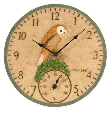Barn Owl Garden Outdoor Clock & Thermometer 12""