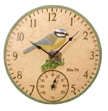 Blue Tit Garden Outdoor Clock & Thermometer 12""