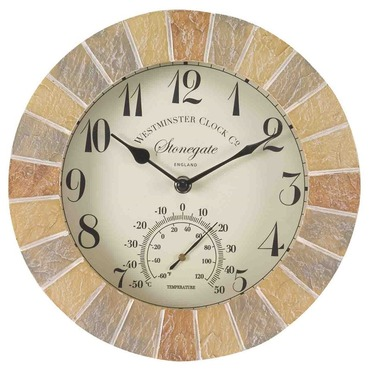 "Stonegate Wall Clock and Thermometer 10"" - Sandstone"