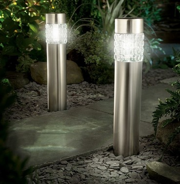 Stainless Steel Bollard Solar Light - Twin Pack - Motion Sensor