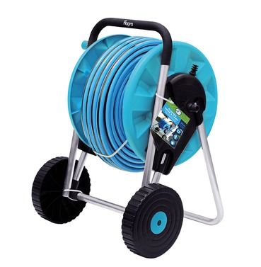 Flopro Hose with Cart 25m - Complete with Connectors and Watering Nozzle