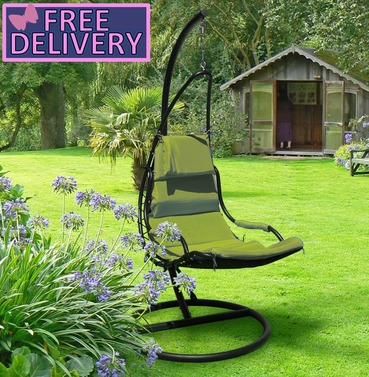 Garden Floating Swing Seat - Green with Black Frame - Brundle Gardener