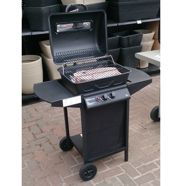 BBQ 2 Burner Gas BBQ on Trolley with Shelves