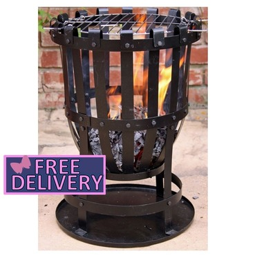 Brazier Vulcan Fire Basket with BBQ Grill & Ash Tray