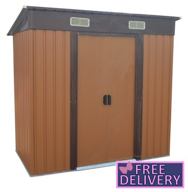 Metal Garden Shed  8ft x 4ft - Brown - Charles Bentley