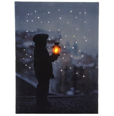 LED Fibre Optic Christmas Canvas Scene Boy Holding Lantern - 30 x 40cm