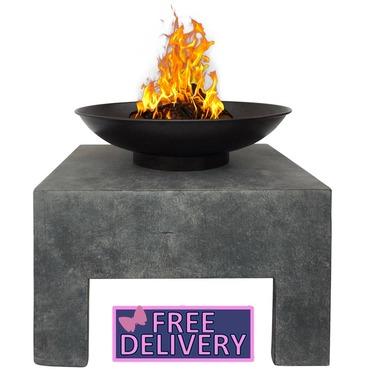 Metal Fire Bowl With Square Stand - Enamel Treated - Charles Bentley
