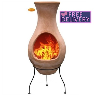 Air Four Element Clay Terracotta Chimenea With Stand - Option of Small, Medium or Large