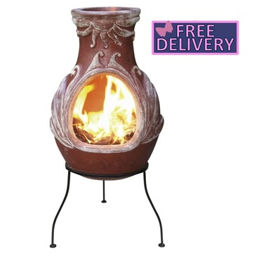 Fire Red Four Element Clay Chimenea With Stand - Option of Small, Medium or Large