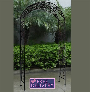 Metal Garden Arch - Wrought Iron -  Antique Black - Charles Bentley