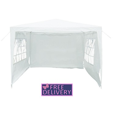 Gazebo with Sides 3m x 3m Gazebo Marquee Tent in White - Charles Bentley