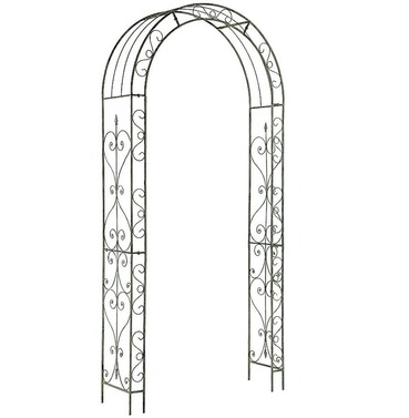 Loire Metal Garden Rose Arch - White \ Grey Wash Finish