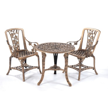 Rose Arm Chair Patio Bistro Set - Bronze