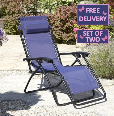Anti-Gravity Reclining Lounger Chairs - Set of Two - Different Colours
