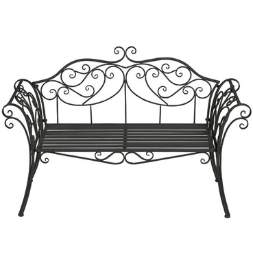 Ornate Scrolled Garden Metal Bench - Black - Gardman