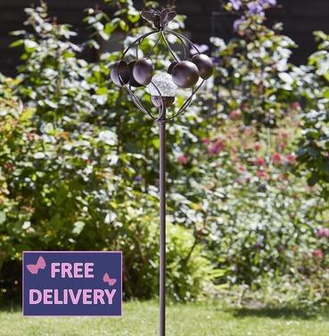 Garden Art - Solar Wind Spinner Aura Illuminated Crackled Globe