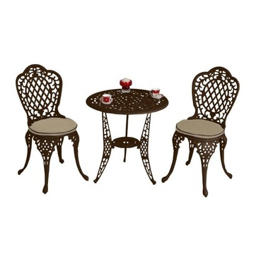 Cream or Bronze Aluminium Mississippi Garden Bistro Set - With Seat Pads