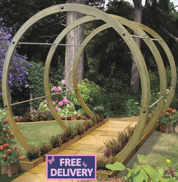 Flower Walk Through Wooden Round Circle Garden Pergola