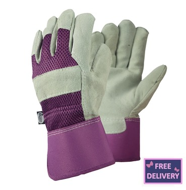 Ladies Rigger Gardening Gloves - Medium - Purple - Briers